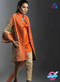 SC 13458 Orange  Embroidered Cambric Printed Suit
