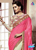 SNP 18004 Beige Georgette/jacquard Wedding Wear Saree online
