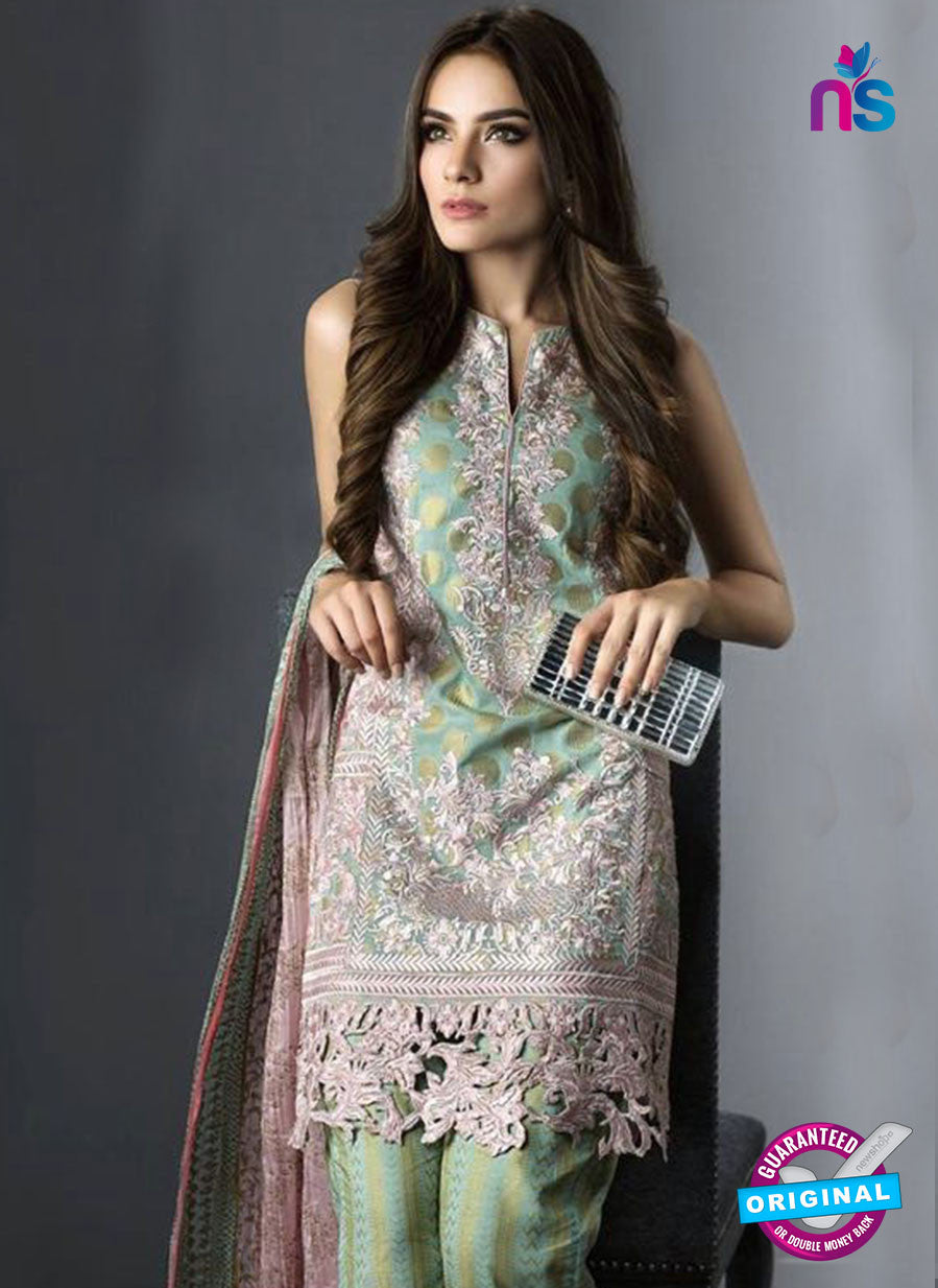 SC 13459 Green and Multicolor  Embroidered Cambric Printed Suit