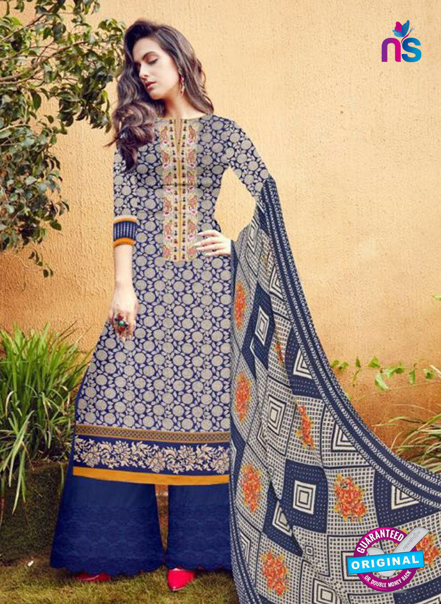 SC 12280 Blue and Grey Embroidered With Digital Printed Pure Lawn Pakistani Suit
