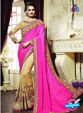 AZ 3645 Beige and Magenta Georgette/jacquard Wedding Wear Saree
