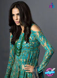 SC 13460 Sea Green and Beige Net  Embroidered Cambric Printed Suit