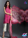 SC 13462 Magenta and Beige  Embroidered Cambric Printed Suit