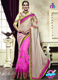 AZ 3647 Pink Georgette/jacquard Wedding Wear Saree