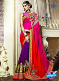 AZ 3648 Purple Georgette/jacquard Wedding Wear Saree