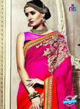 SNP 18009 Purple Georgette/jacquard Wedding Wear Saree online