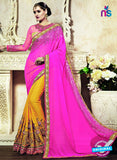 AZ 3649 Yellow and Magenta Georgette/jacquard Wedding Wear Saree