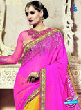 SNP 18010 Yellow and Magenta Georgette/jacquard Wedding Wear Saree online