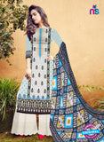 SC 12275 White and Black Embroidered With Digital Printed Pure Lawn Pakistani Suit
