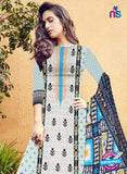 SC 12275 White and Black Embroidered With Digital Printed Pure Lawn Pakistani Suit Online