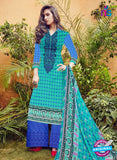 SC 12277 Green and Blue Embroidered With Digital Printed Pure Lawn Pakistani Suit
