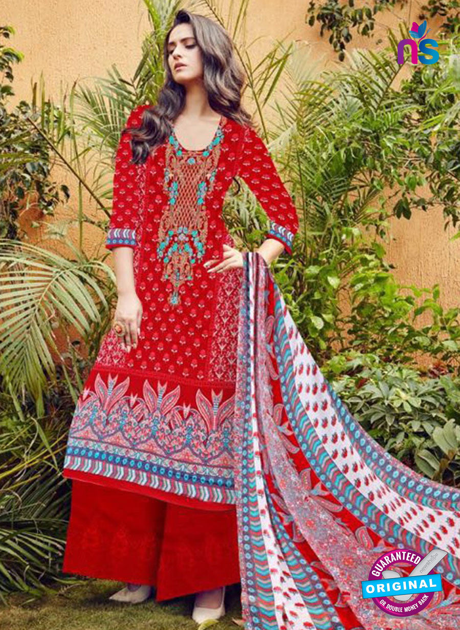 SC 12278 Red and Multicolor Embroidered With Digital Printed Pure Lawn Pakistani Suit