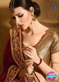 AZ 3468 Brown and Maroon Georgette Wedding Wear Saree
