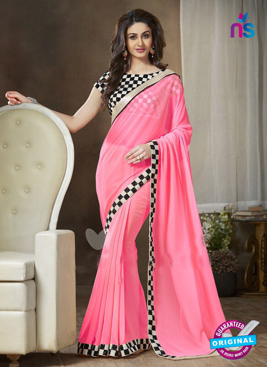 NS11118 B Pink and Black Party Wear Georgette Saree