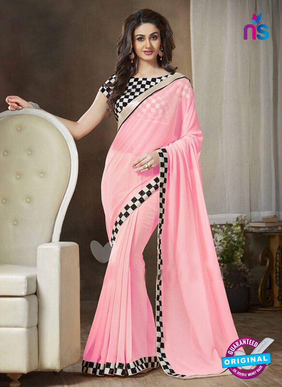 NS11119 C Pink and Black Party Wear Georgette Saree