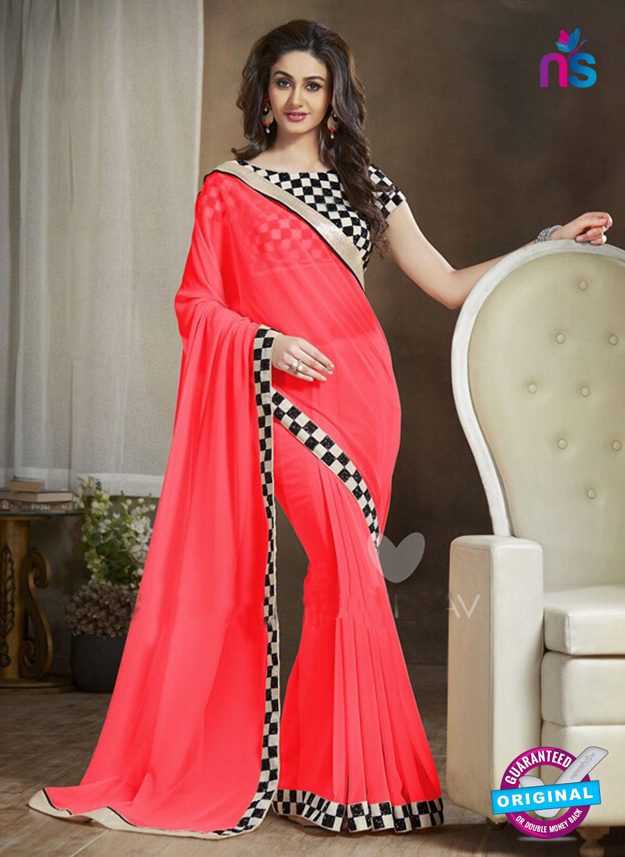 NS11120 D Red and Black Party Wear Georgette Saree