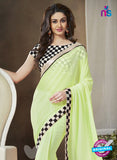 NS11121 E Light Green and Black Party Wear Georgette Saree