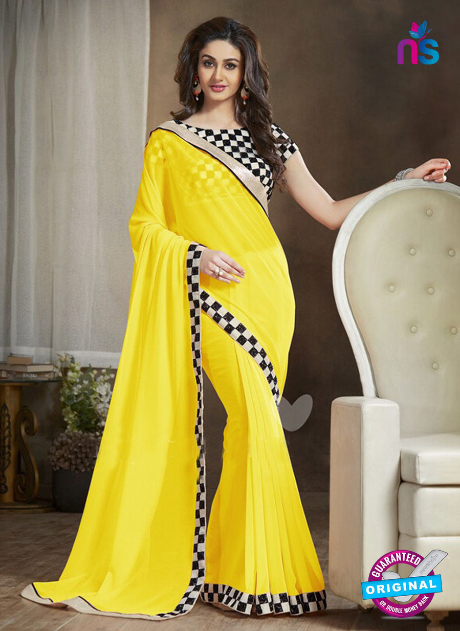 NS11122 G Yellow and Black Party Wear Georgette Saree