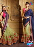 AZ 3469 Green and Blue Net Wedding Wear Saree