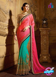 AZ 3470 Sea Green and Pink Net/ Satin Chiffon Wedding Wear Saree