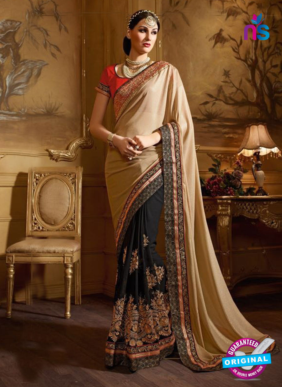 AZ 3471 Black and Brown Georgette & Satin Wedding Wear Saree