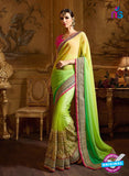 AZ 3474 Green Net/Chiffon Wedding Wear Saree