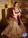 AZ 3475 Beige and Purple Net/Georgette Wedding Wear Saree