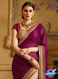 AZ 3475 Beige and Purple Net/Georgette Wedding Wear Saree online