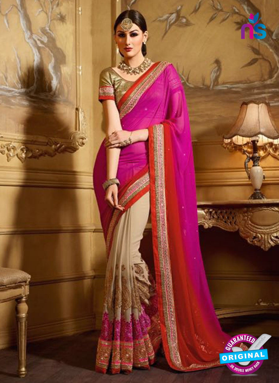 AZ 3479 Beige and Pink Georgette Wedding Wear Saree