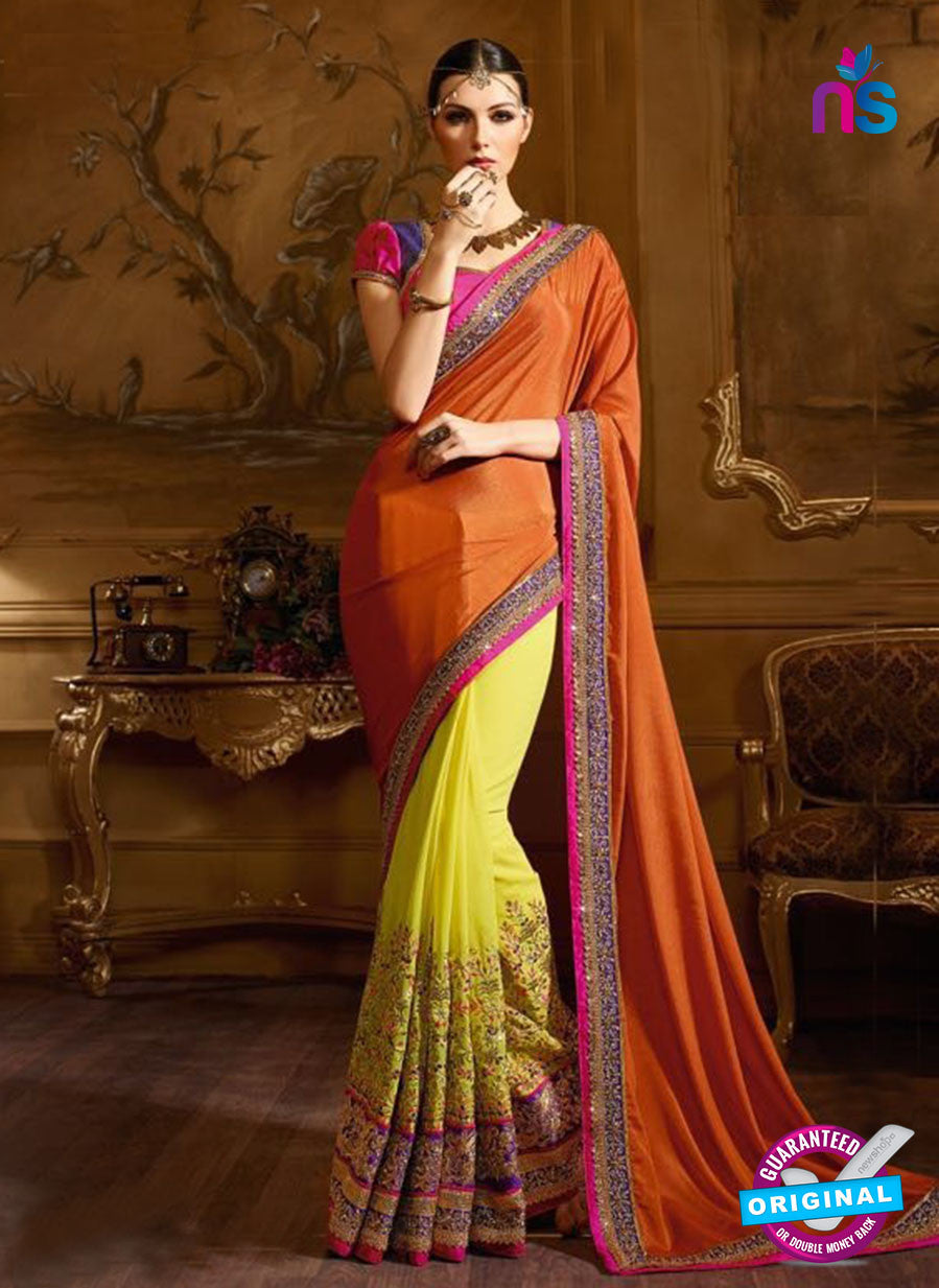 AZ 3480 Yellow and Orange Silky Georgette & Chiffon Wedding Wear Saree