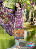 SC 12809 Purple and Grey Lawn Cotton Printed Designer Suit