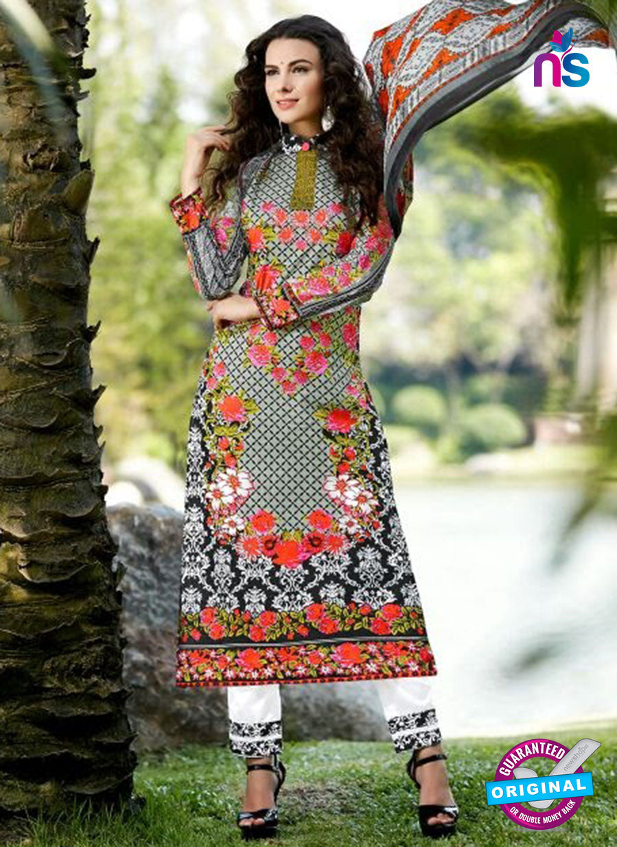 SC 12805 Black and White Lawn Cotton Printed Designer Suit