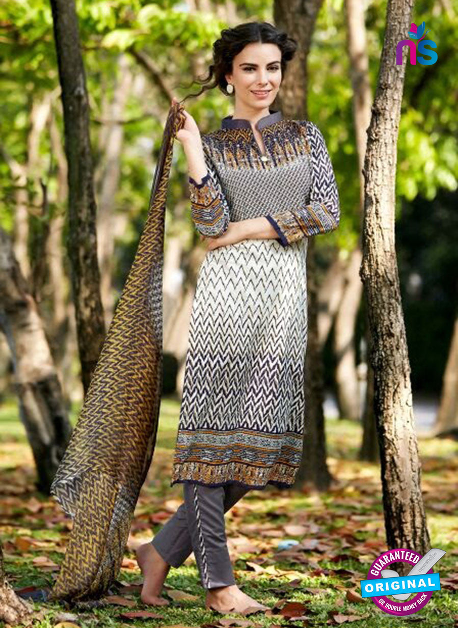 SC 12807 Grey and Beige Lawn Cotton Printed Designer Suit