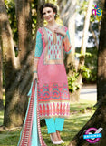 SC 12810 Pink and SkyBlue Lawn Cotton Printed Designer Suit