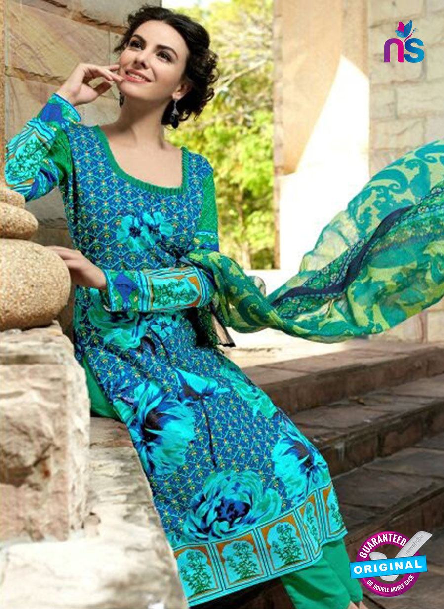 SC 12808 Green and Blue Lawn Cotton Printed Designer Suit