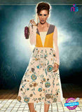 NS12027 Yellow and White Designer Kurti
