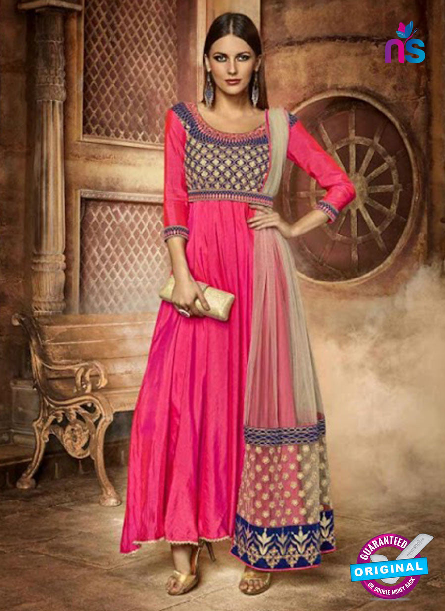 Eternal 181 Pink Silk and Valvet Anarkali Suit