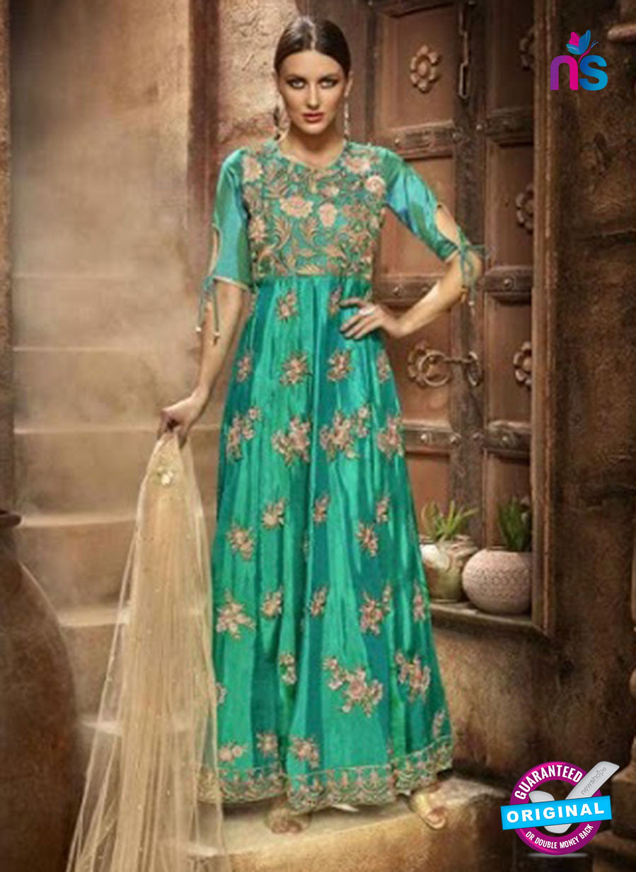 AZ 3949 Sea Green Silk Anarkali Suit