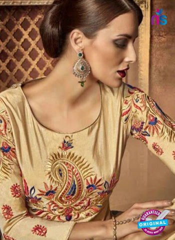 buy beige silk anarkali suit