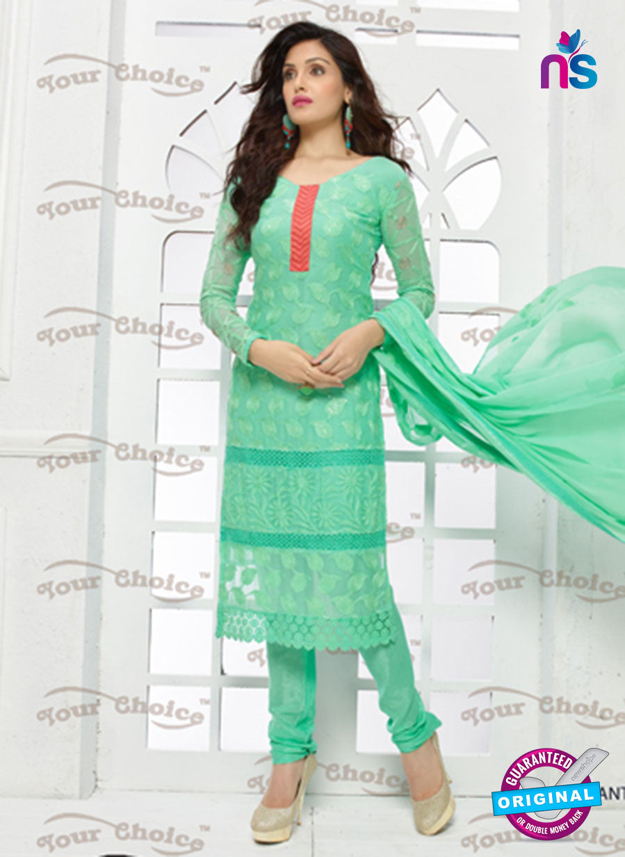 SC 13346 Green Pure Chiffon Straight Suit