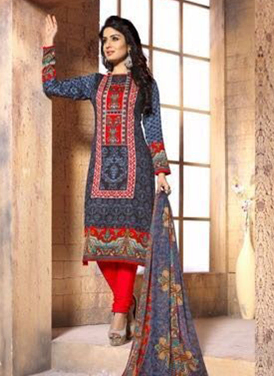 NS11395 A  Red Color Cotton Designer Suit