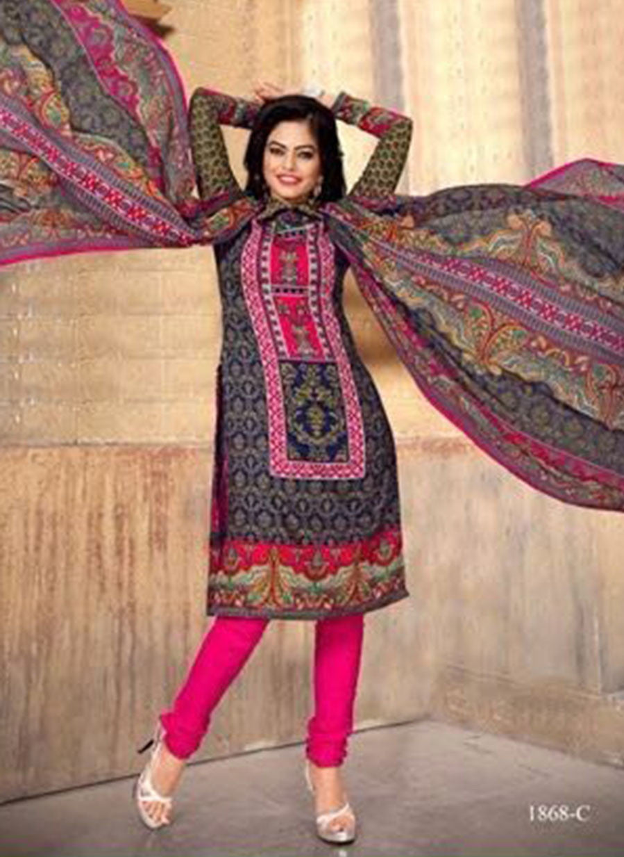 NS11397 C  Blue & Pink Color Cotton Designer Suit