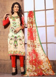 NS11404 A  Beige & Orange Color Cotton Designer Suit