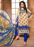 NS11408 B  Beige & Blue Color Cotton Designer Suit