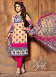 NS11409 C  Beige & Pink Color Cotton Designer Suit
