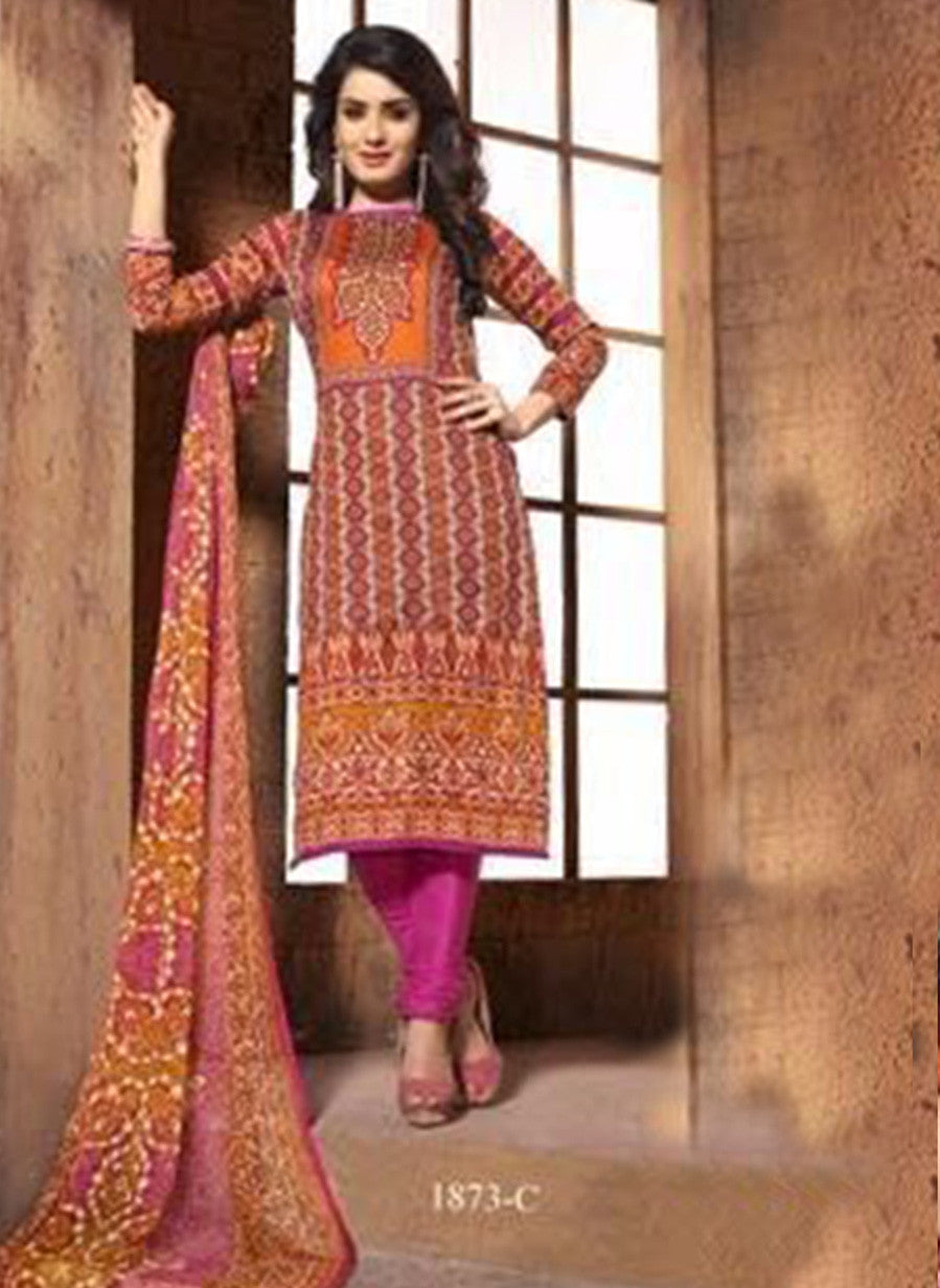 NS11412 C  Beige & Pink Color Cotton Designer Suit