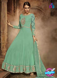 green georgette anarkali suit