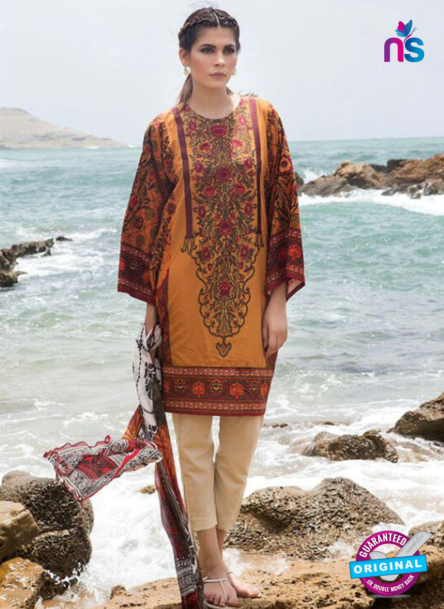 SC 13798 Orange Lawn Designer Fancy Traditional Plazo Suit