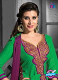 NS12209 Green and Magenta Straight Suit