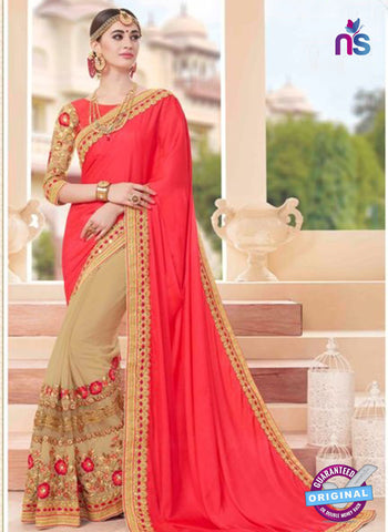 Glossy 19001 Beige Party Wear Saree
